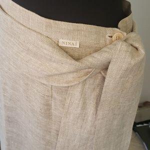 Flax linen maxi skirt Paris  France L